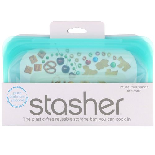 Stasher, Reusable Silicone Food Bag, Snack Size Small, Aqua, 9.9 fl oz (293.5 ml) Review