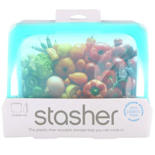 Stasher, Reusable Silicone Food Bag, Stand Up Bag, Aqua, 56 fl oz (128 g) Review