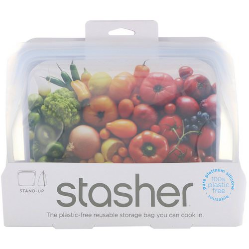 Stasher, Reusable Silicone Food Bag, Stand Up Bag, Clear, 56 fl. oz. (128 g) Review