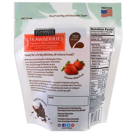 糖果, 巧克力: Stoneridge Orchards, Strawberries, Dipped in Dark Chocolate, 5 oz (142 g)