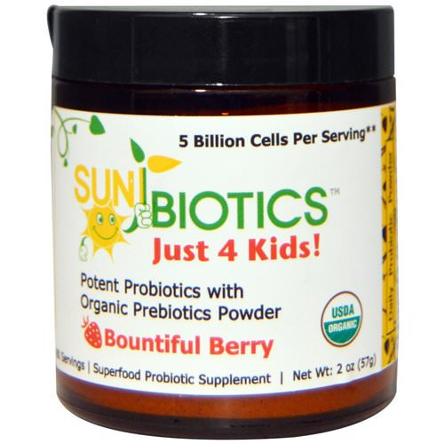 Sunbiotics, Just 4 Kids! Potent Probiotics with Organic Prebiotics Powder, Bountiful Berry, 2 oz (57 g) Review