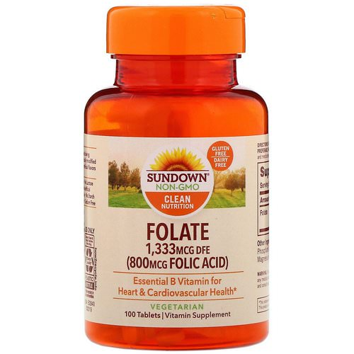 Sundown Naturals, Folate, 1,333 mcg DFE, 100 Tablets Review