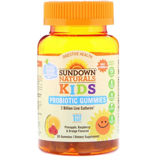 Sundown Naturals Kids, Kids Probiotic Gummies, Pineapple, Raspberry & Orange Flavored, 30 Gummies Review