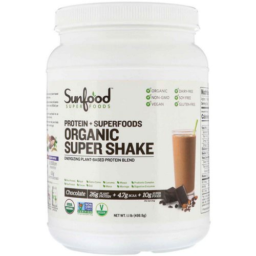 Sunfood, Protein + Superfoods, Organic Super Shake, Chocolate, 1.1 lb (498.9 g) Review