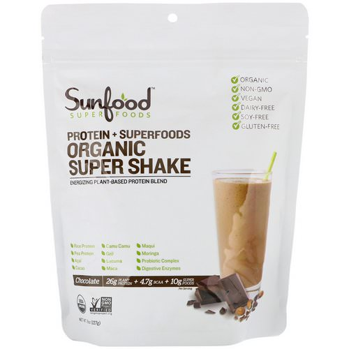 Sunfood, Protein + Superfoods, Organic Super Shake, Chocolate, 8 oz (227 g) Review