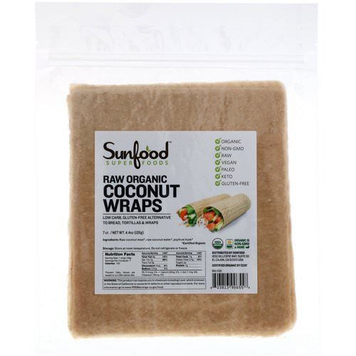 Sunfood, Raw Organic Coconut Wraps, 7 Wraps, 4.4 oz (126 g) Review