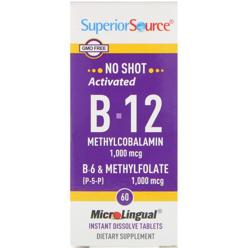 Superior Source, Activated B-12 Methylcobalamin, B-6 (P-5-P) & Methylfolate, 1,000 mcg / 1,000 mcg, 60 MicroLingual Instant Dissolve Tablets Review
