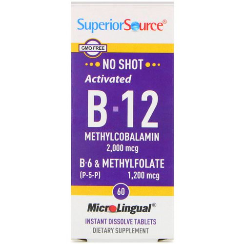 Superior Source, Activated B-12 Methylcobalamin, B-6 (P-5-P) & Methylfolate, 2,000 mcg / 1,200 mcg, 60 MicroLingual Instant Dissolve Tablets Review