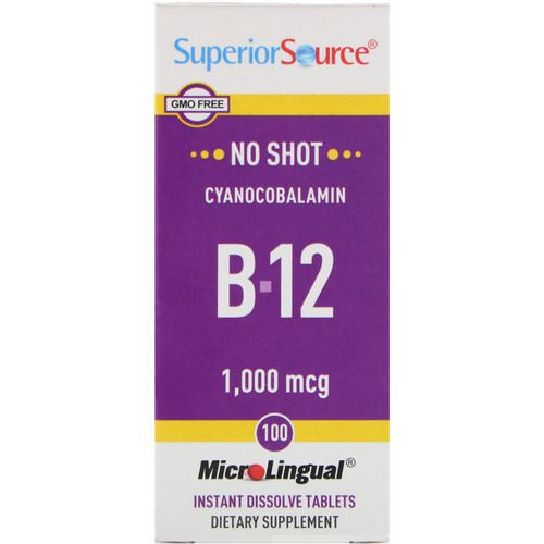 Superior Source, Cyanocobalamin B-12, 1,000 mcg, 100 MicroLingual Instant Dissolve Tablets Review