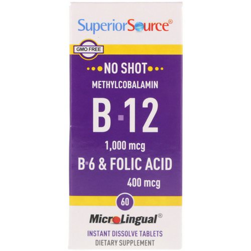 Superior Source, Methylcobalamin B-12 1000 mcg, B-6 & Folic Acid 400 mcg, 60 MicroLingual Instant Dissolve Tablets Review