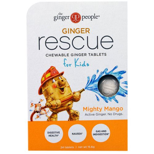 The Ginger People, Ginger Rescue, Chewable Ginger Tablets for Kids, Mighty Mango, 24 Tablets (15.6 g) Review