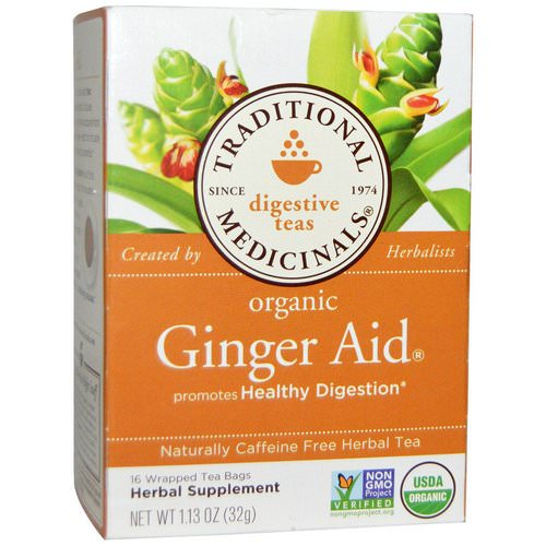 Traditional Medicinals, Digestive Teas, Organic Ginger Aid, Naturally Caffeine Free, 16 Wrapped Tea Bags, 1.13 oz (32 g) Review