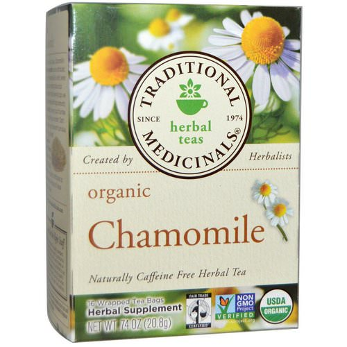 Traditional Medicinals, Herbal Teas, Organic Chamomile, Naturally Caffeine Free, 16 Wrapped Tea Bags, .74 oz (20.8 g) Review