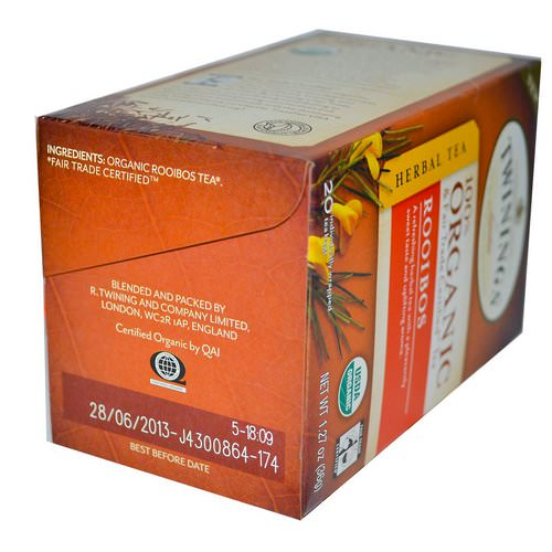 Twinings, Organic Herbal Tea, Rooibos, 20 Tea Bags, 1.27 oz (36 g) Review