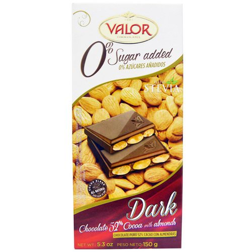 Valor, 0% Sugar Added, Dark Chocolate, 52% Cocoa with Almonds, 5.3 oz (150 g) Review