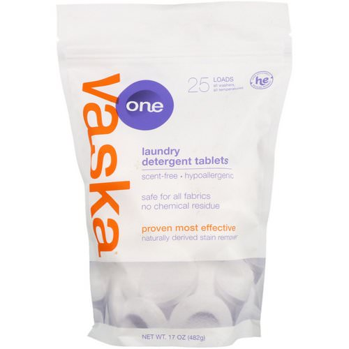 Vaska, One, Laundry Detergent Tablets, Scent Free, 25 Loads, 17 oz (482 g) Review
