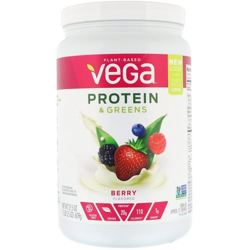 Vega, Protein & Greens, Berry Flavored, 1.34 lbs (609 g) Review