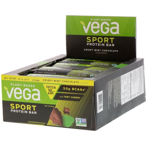 Vega, Sport, Protein Bar, Crispy Mint Chocolate, 12 Bars, 2.5 oz (70 g) Each Review