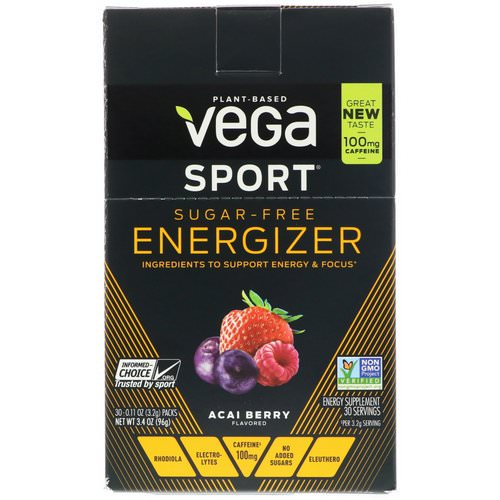 Vega, Sport, Sugar-Free Energizer, Acai Berry, 30 Packs, 0.11 oz (3.2 g) Each Review