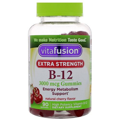 VitaFusion, Extra Strength B-12, Natural Cherry Flavor, 3000 mcg, 90 Gummies Review