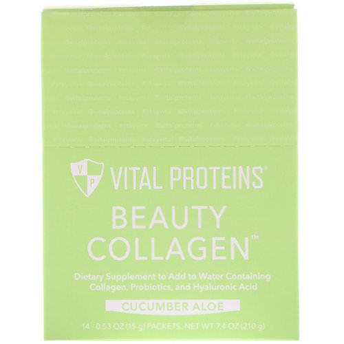 Vital Proteins, Beauty Collagen, Cucumber Aloe, 14 Packets, 0.53 oz (15 g) Each Review