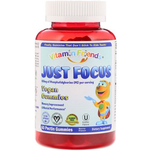 Vitamin Friends, Just Focus, Vegan Gummies, Berry Flavor, 60 Pectin Gummies Review