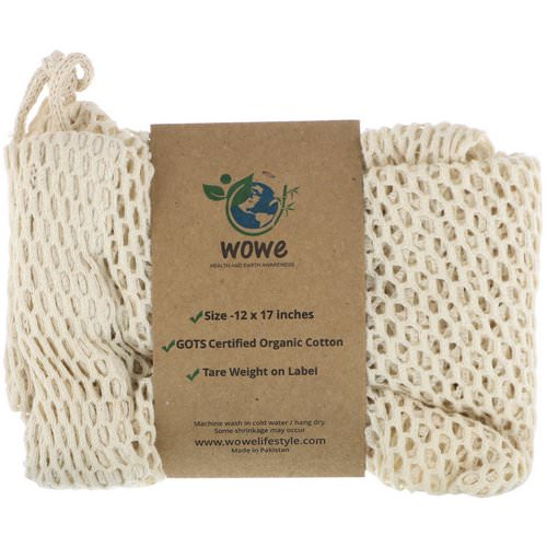 Wowe, Certified Organic Cotton Mesh Bag, 1 Bag, 12 in x 17 in Review