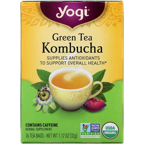Yogi Tea, Organic, Green Tea Kombucha, 16 Tea Bags, 1.12 oz (32 g) Review