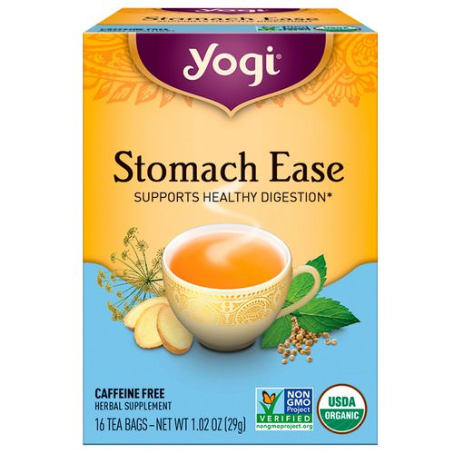 Yogi Tea, Stomach Ease, Caffeine Free, 16 Tea Bags, 1.02 oz (29 g) Review
