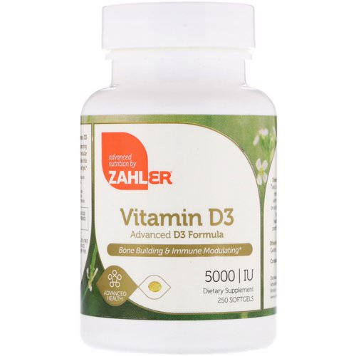 Zahler, Vitamin D3, Advanced D3 Formula, 5000 IU, 250 Softgels Review