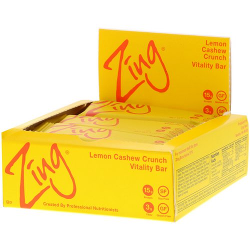 Zing Bars, Vitality Bar, Lemon Cashew Crunch, 12 Bars, 1.76 oz (50 g) Each Review